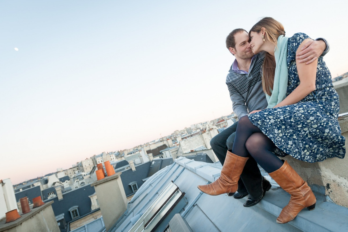E+G photo de couple sur les toits de Paris